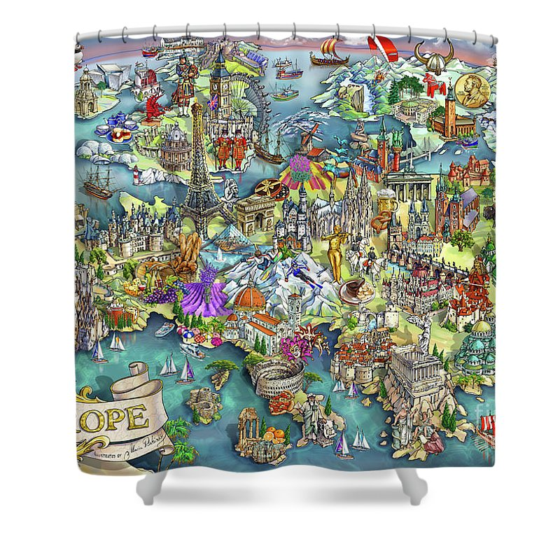 Map Of Europe For Sale.Illustrated Map Of Europe Shower Curtain For Sale By Maria Rabinky