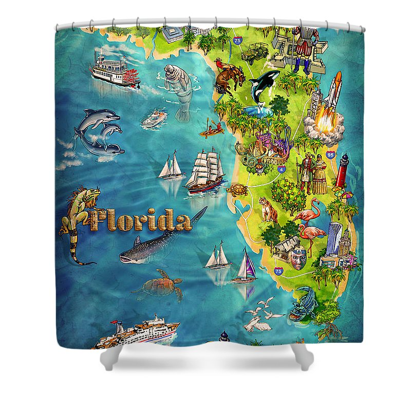 Illustrated Map Of Florida Shower Curtain For Sale By Maria Rabinky