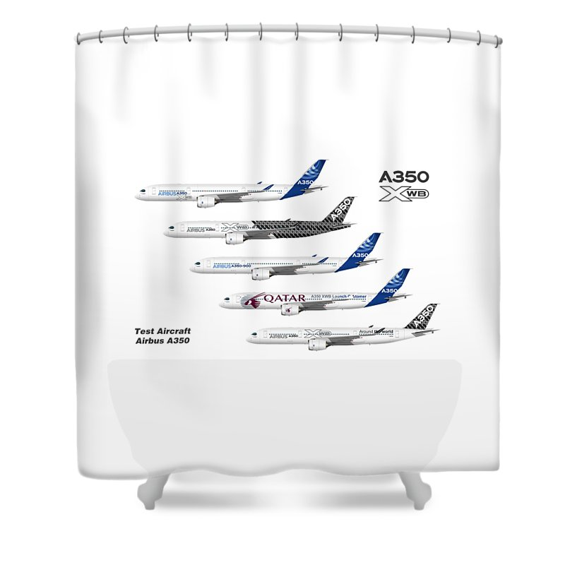 Airbus Shower Curtain Featuring The Digital Art Illustration Of A350 Test Aircraft By Steve H