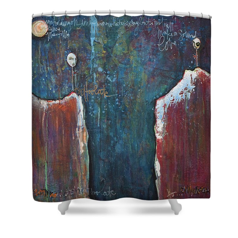 Lollipops Shower Curtain featuring the painting I'm Holding On by Laurie Maves ART