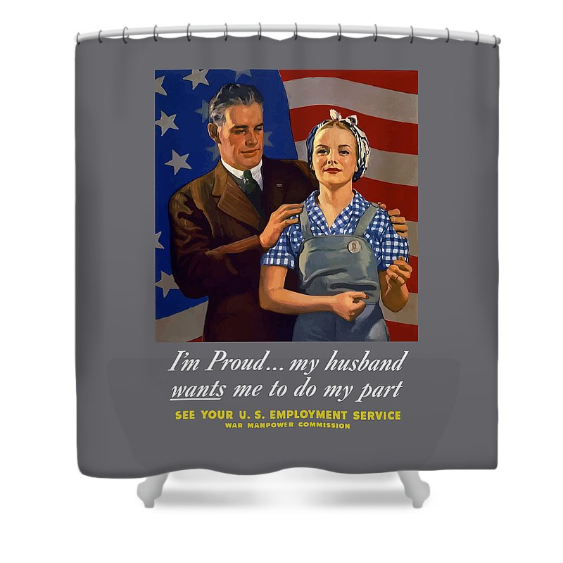 American Flag Shower Curtain featuring the painting I'm Proud... My Husband Wants Me To Do My Part by War Is Hell Store