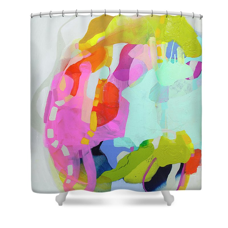 Abstract Shower Curtain featuring the painting I'm So Glad by Claire Desjardins