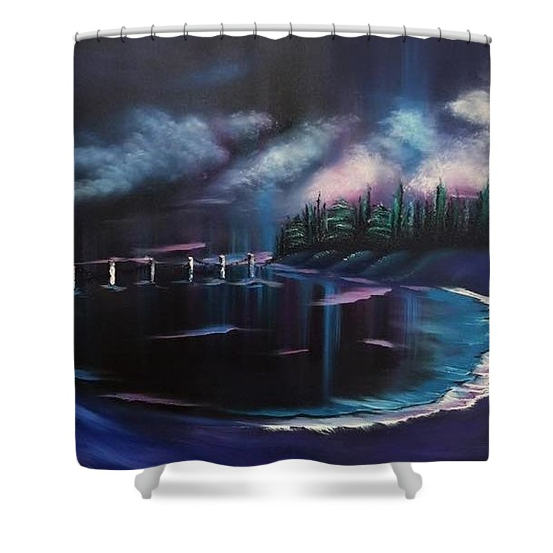 Sea Side Shower Curtain featuring the painting Imaginary Sea by Nadine Westerveld
