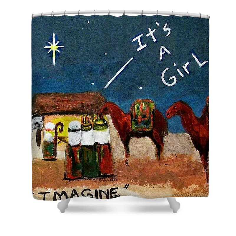 Christmas Card Shower Curtain featuring the painting Imagine by Frances Marino