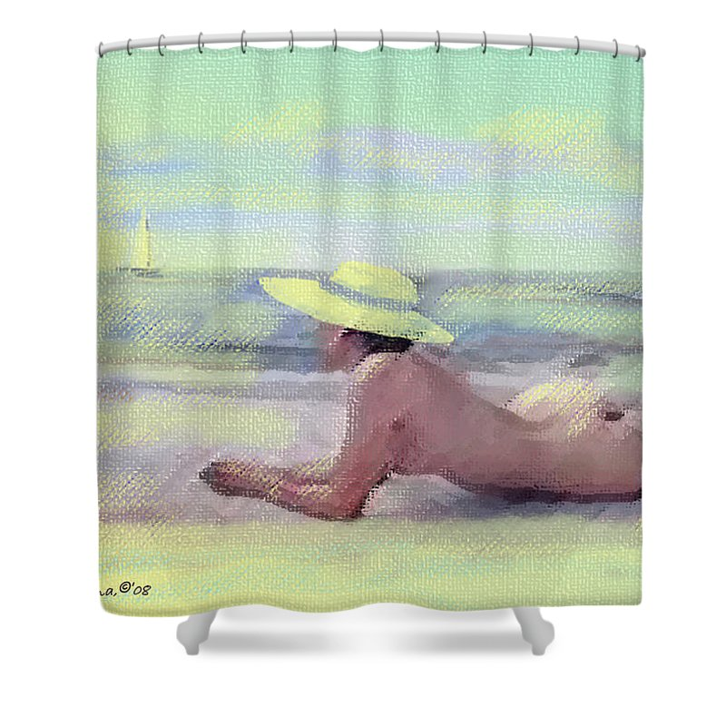 Original Art Shower Curtain featuring the pastel Imagine by Gina De Gorna