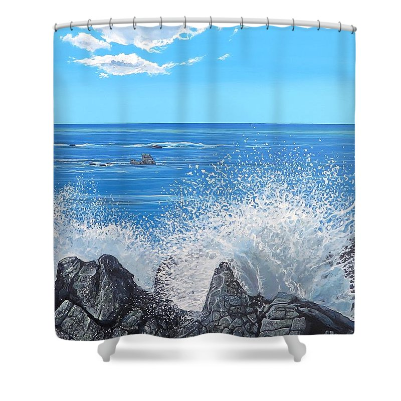 Ocean Shower Curtain featuring the painting Splash by Hunter Jay