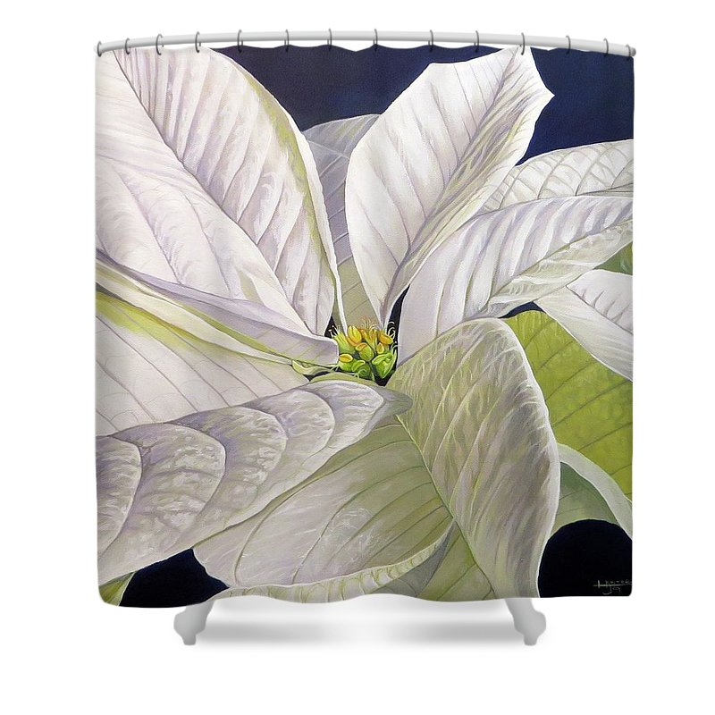 White Poinsettia Shower Curtain featuring the painting Swirl by Hunter Jay