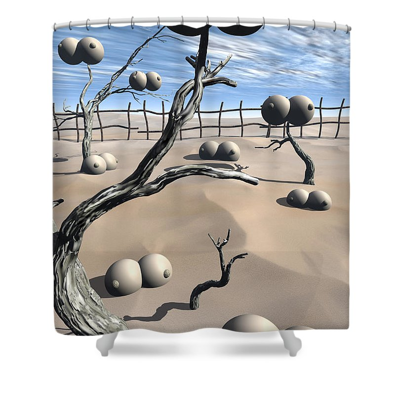 Humor Shower Curtain featuring the digital art Imm Plants by Richard Rizzo