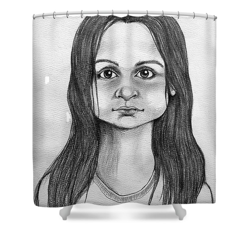 Portrait Shower Curtain featuring the drawing Immigrant Girl by Marco Morales