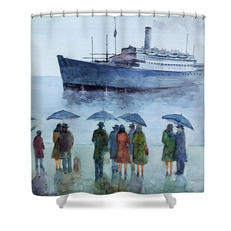 Immigrate Shower Curtain featuring the painting Immigration... by Faruk Koksal