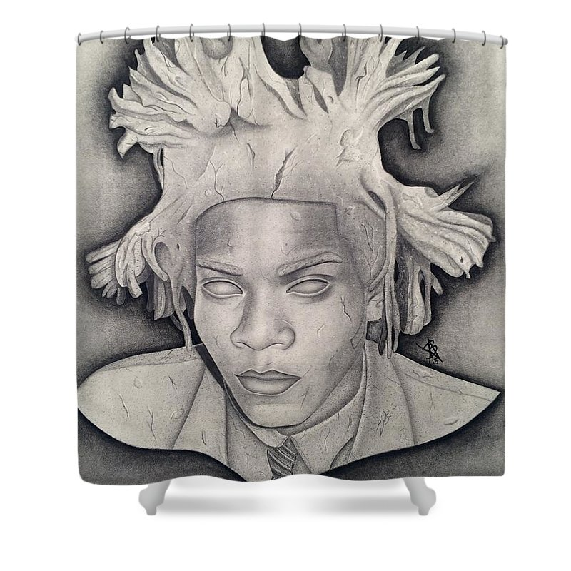 Immortalizing In Stone Jean Michel Basquiat Drawing Shower Curtain For Sale By Angelee Borrero