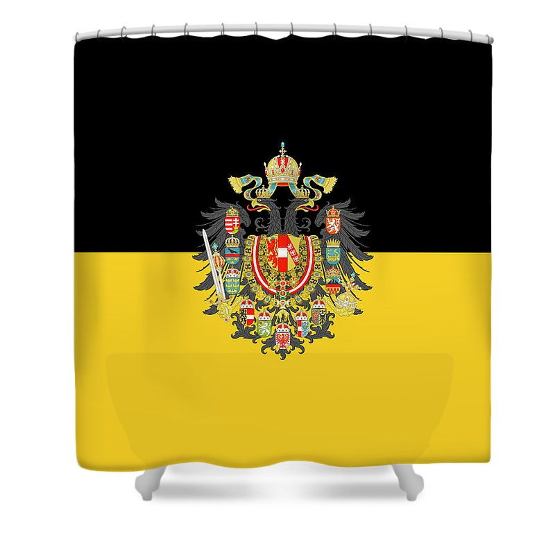 Flag Shower Curtain featuring the digital art Habsburg Flag With Imperial Coat Of Arms 1 by Helga Novelli