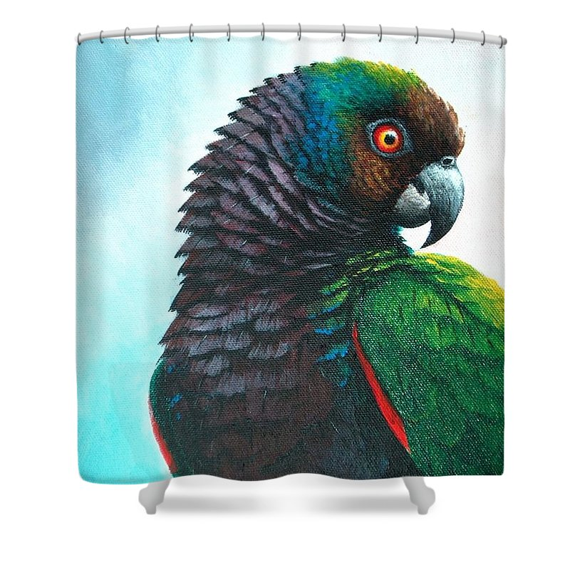 Chris Cox Shower Curtain featuring the painting Imperial Parrot by Christopher Cox