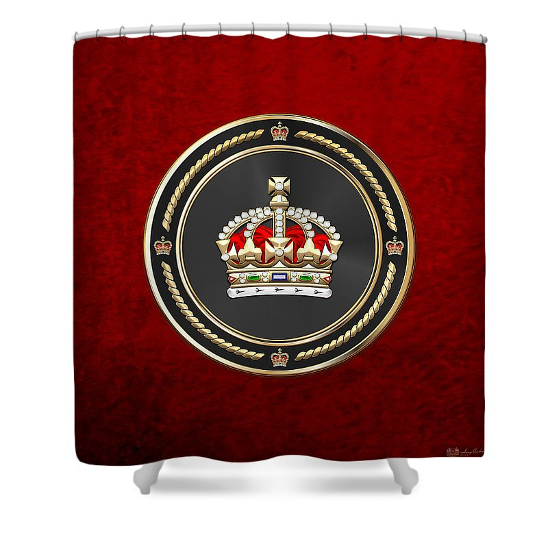 'royal Collection' By Serge Averbukh Shower Curtain featuring the digital art Imperial Tudor Crown Over Red Velvet by Serge Averbukh