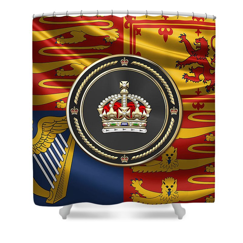 Royal Collection' By Serge Averbukh Shower Curtain featuring the digital art Imperial Tudor Crown Over Royal Standard Of The United Kingdom by Serge Averbukh