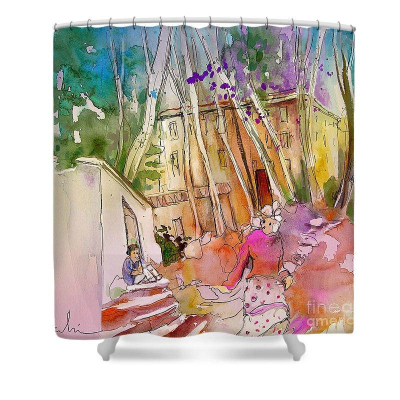 Capileira Shower Curtain featuring the painting Impression Of Capileira 01 by Miki De Goodaboom