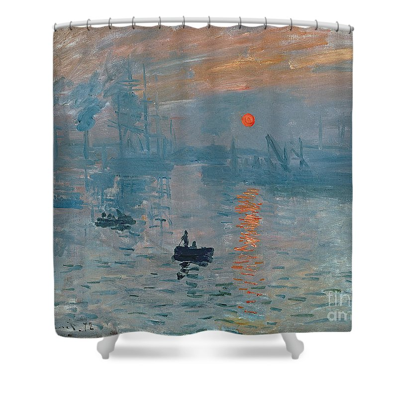 Impression Shower Curtain featuring the painting Impression Sunrise by Claude Monet