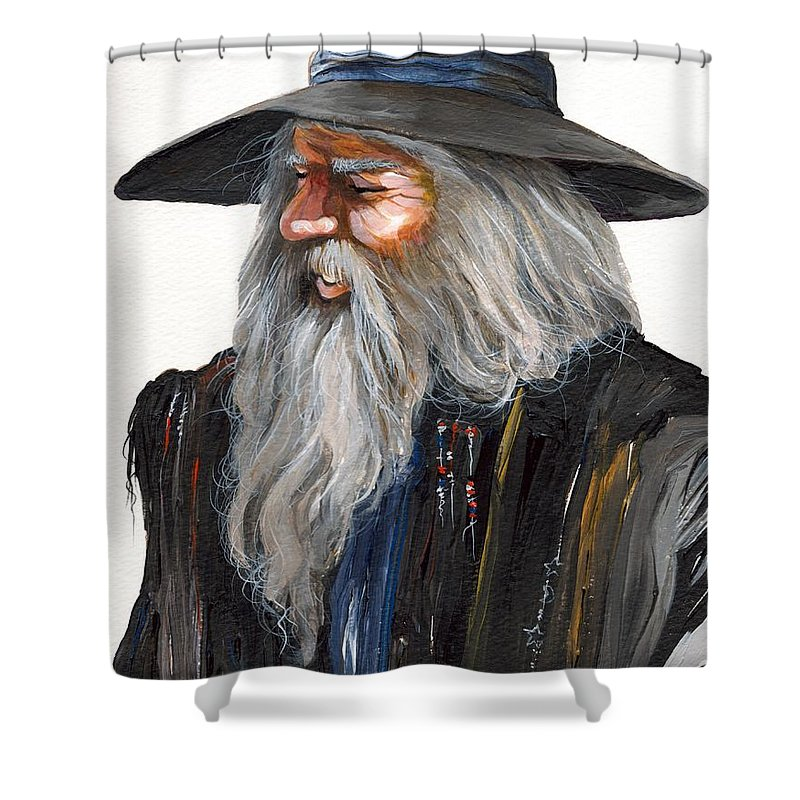 Fantasy Art Shower Curtain featuring the painting Impressionist Wizard by J W Baker