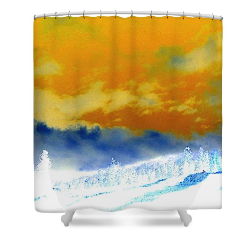 Impressions Shower Curtain featuring the digital art Impressions 2 by Will Borden