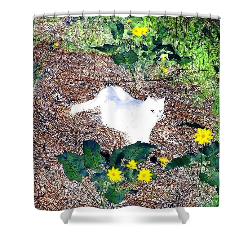 Impressions Shower Curtain featuring the digital art Impressions 4 by Will Borden