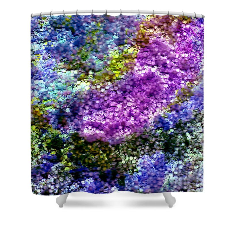 Abstract Shower Curtain featuring the painting Impressions From The Garden by Wayne Potrafka