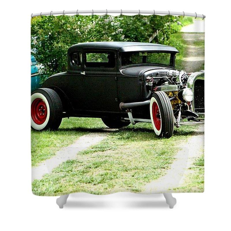 Black Impressive Mood Car Auto Automobile Classic Vintage Collect Collection Life Shower Curtain featuring the photograph Impressive. by Stevie Ellis