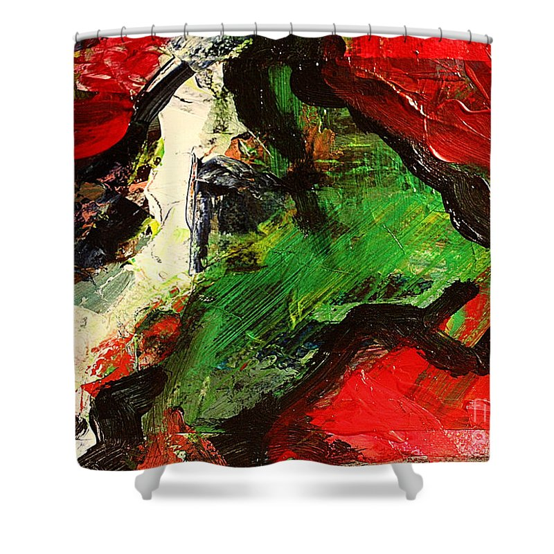 Art Shower Curtain featuring the painting Impro3 by Uwe Hoche