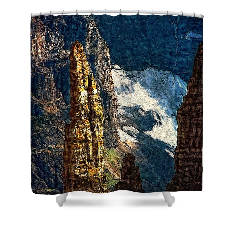 Valley Of The Ten Peaks Shower Curtain featuring the photograph In A High Place Impasto by Steve Harrington