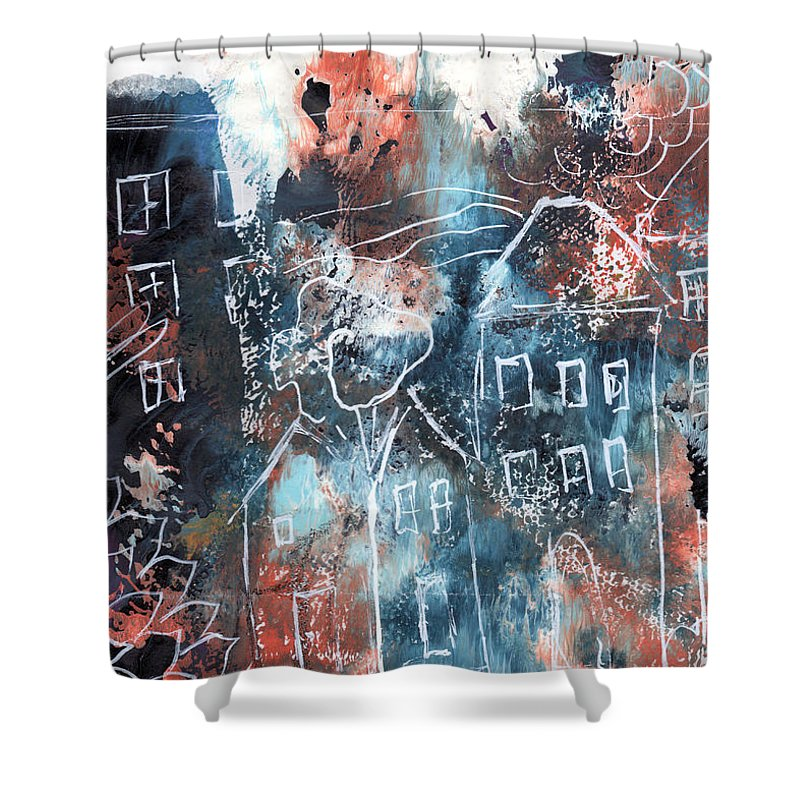 Abstract Shower Curtain featuring the painting In A Northern Town- Abstract Art By Linda Woods by Linda Woods