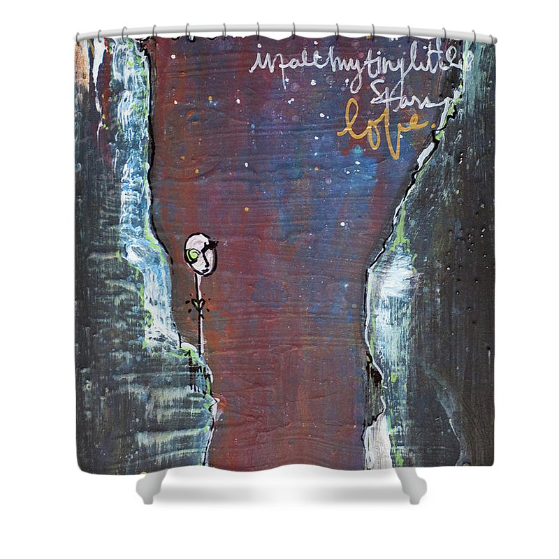 Cliffs Shower Curtain featuring the painting In All My Tiny Little Stars by Laurie Maves ART