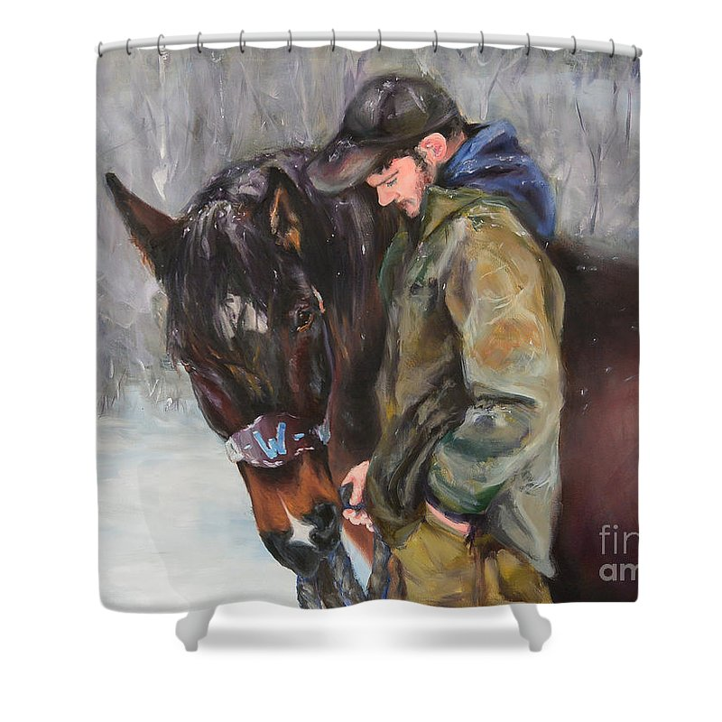 Horse Shower Curtain featuring the painting In All Weather by Melissa Hughes