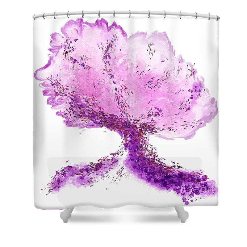 Wow Shower Curtain featuring the digital art In another world, a tree... by Rouages Design