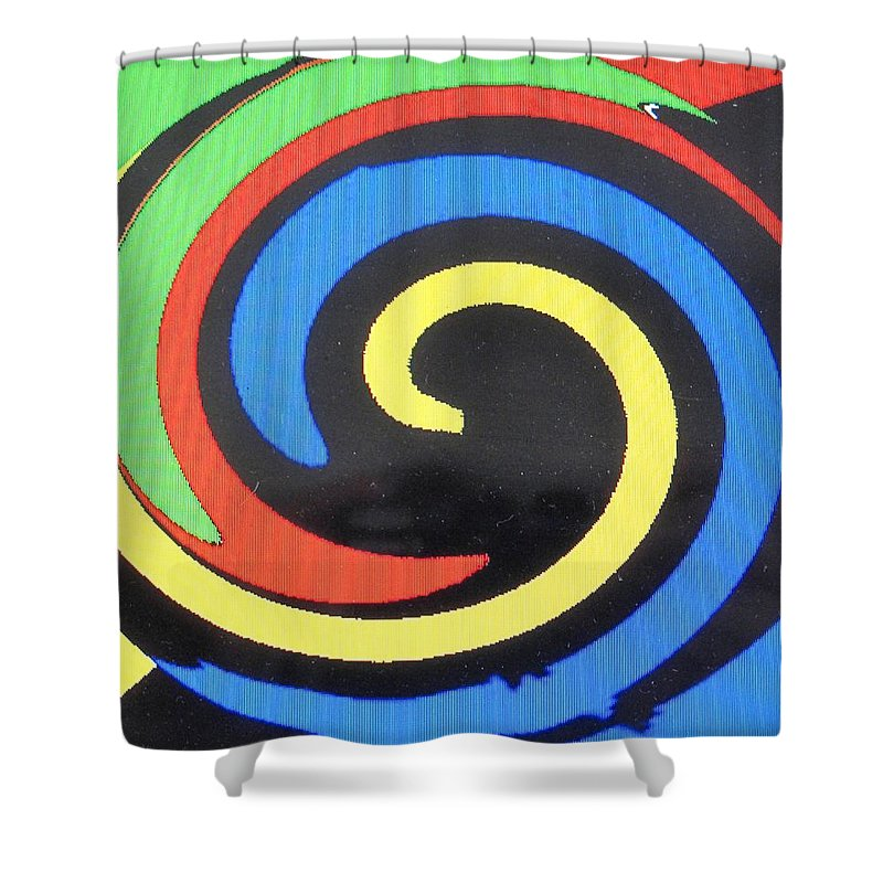 Red Shower Curtain featuring the digital art In Balance by Ian MacDonald