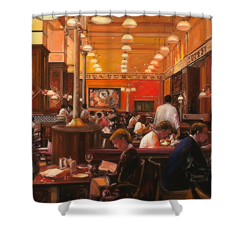 Coffee Shop Shower Curtain featuring the painting In Birreria by Guido Borelli