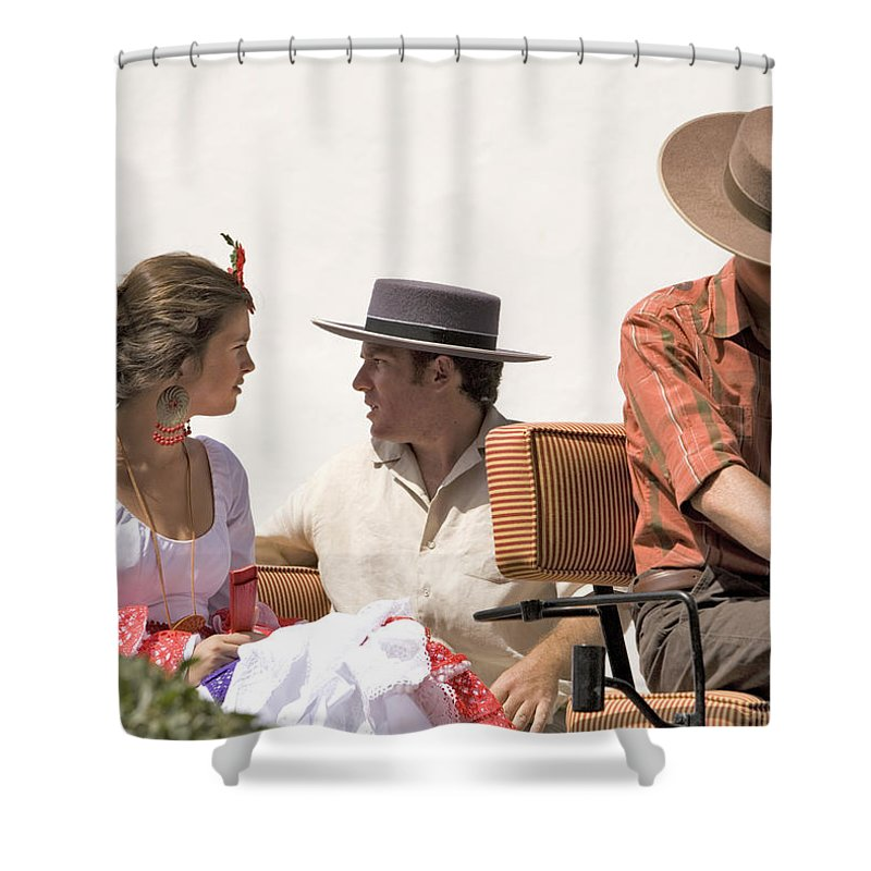 Flamenco Shower Curtain featuring the photograph In Flamenco Dress For The Bullfight by Mal Bray
