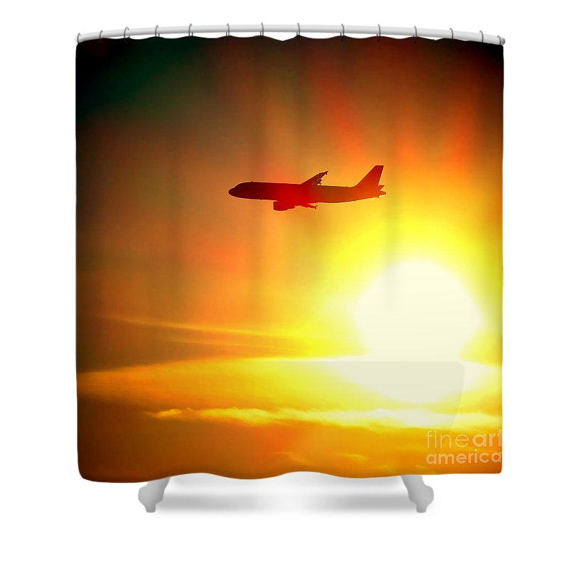 Boeing Shower Curtain featuring the photograph In Flight by Olivier Le Queinec