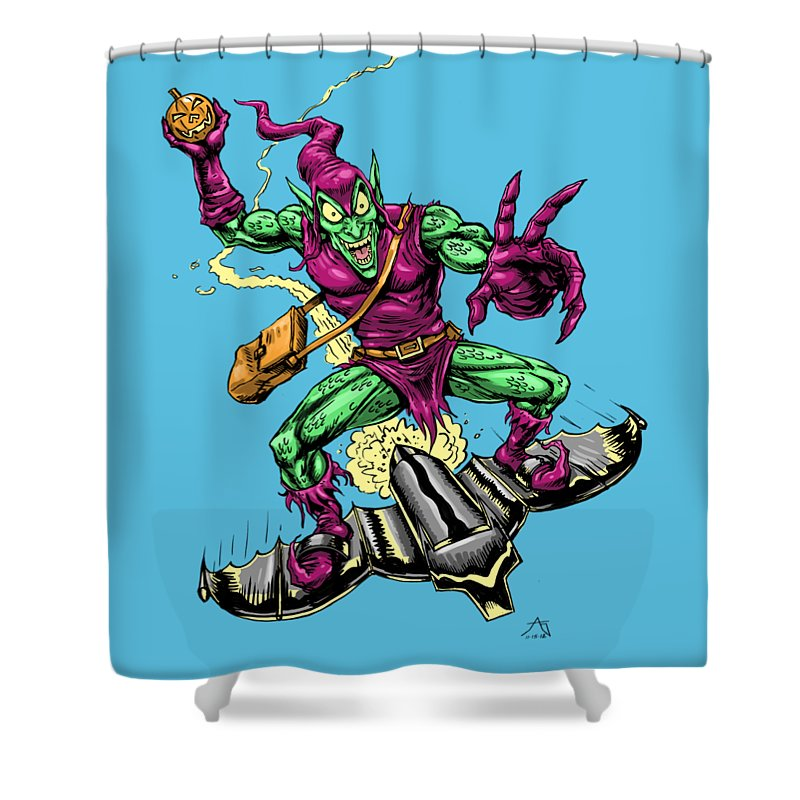 Green Goblin Shower Curtain featuring the drawing In Green Pursuit by John Ashton Golden