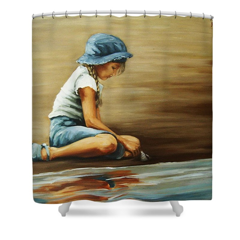 Girl Shower Curtain featuring the painting In Her World... by Natalia Tejera