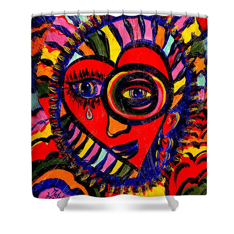 Abstract Shower Curtain featuring the painting In My Heart by Natalie Holland