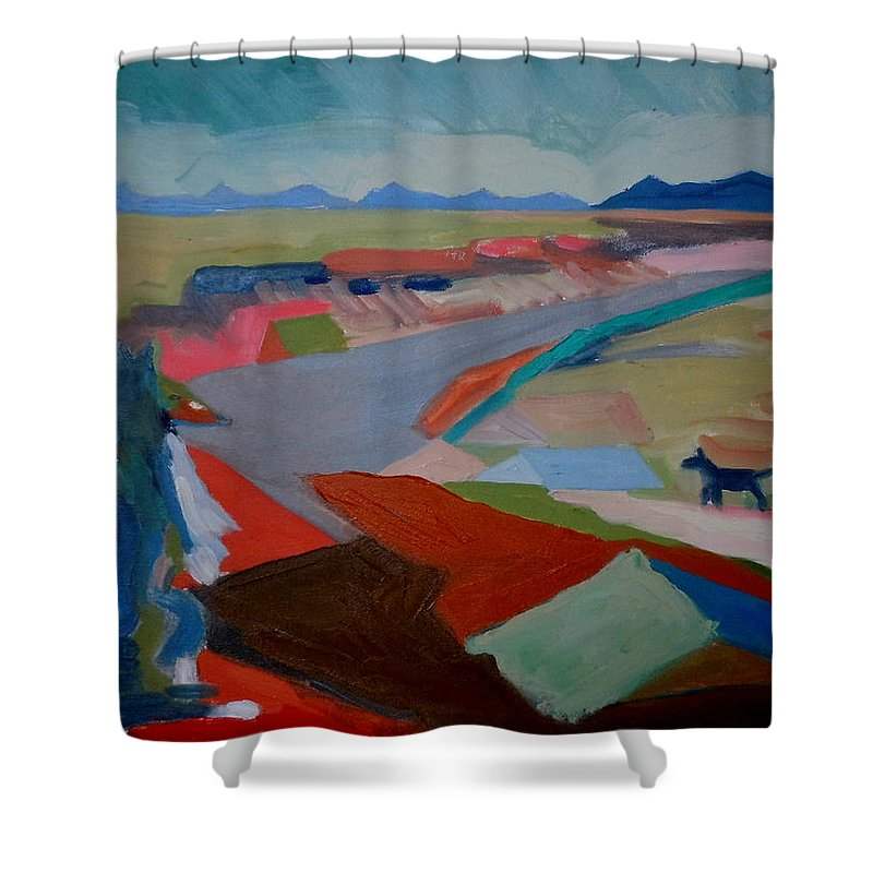Abstract Shower Curtain featuring the painting In My Land by Francine Frank