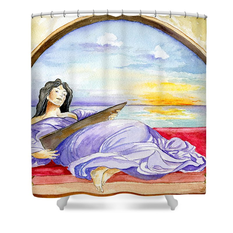 Landscape Woman Romantic Figure Window Sea Sky Shower Curtain featuring the painting In Paradisum by Brenda Owen