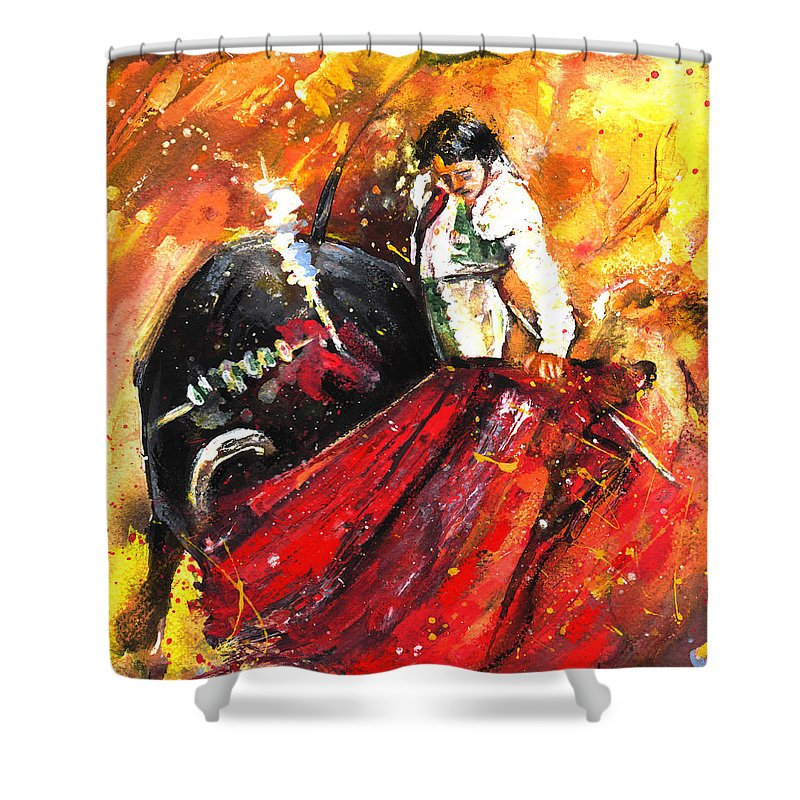 Animals Shower Curtain featuring the painting In Passing by Miki De Goodaboom