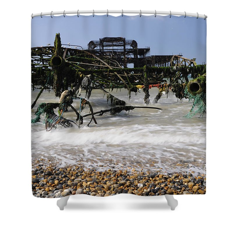 West Pier Shower Curtain featuring the photograph In Pieces by Smart Aviation