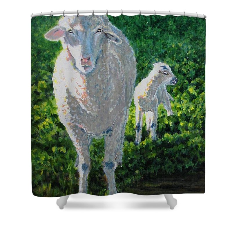 Sheep Shower Curtain featuring the painting In Sheep's Clothing by Karen Ilari
