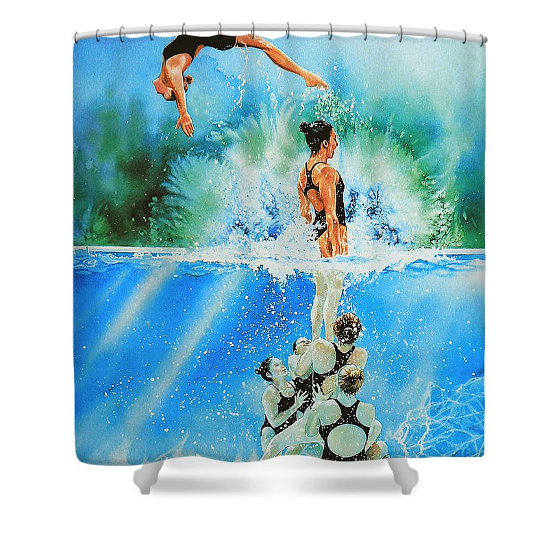 Swimming Shower Curtain featuring the painting In Sync by Hanne Lore Koehler