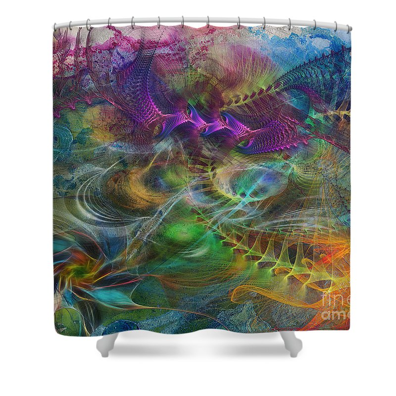 In The Beginning Shower Curtain featuring the digital art In The Beginning by John Robert Beck