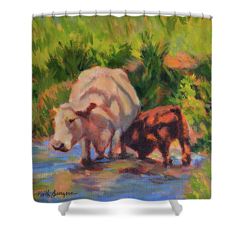 Impressionism Shower Curtain featuring the painting In The Creek by Keith Burgess
