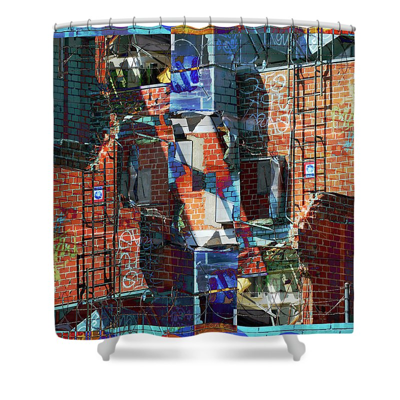 Abstract Shower Curtain featuring the digital art In The Down Town by Bill Jonas