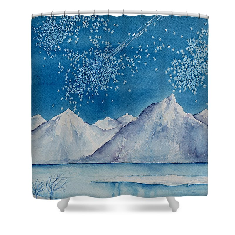 Watercol.or Scenery Landscape Fantasy Ice Snow Cold Winter Mountains Frozen Shower Curtain featuring the painting In The Far North by Brenda Owen