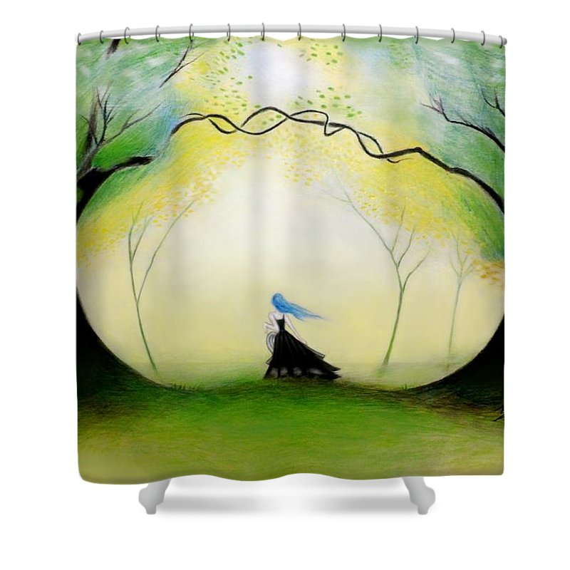 Forest Shower Curtain featuring the drawing In The Forest by Ilias Patrinos